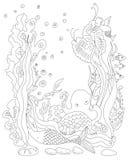Havssjöjungfru och djurbildbakgrund Vektorteckningsillustr Royaltyfria Bilder