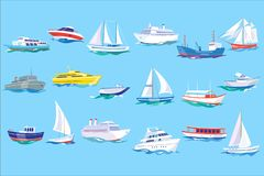 Havsskepp-, fartyg- och yachtuppsättning, hav eller för begreppsvektor för marin- transport illustration i plan stil, vektor illustrationer