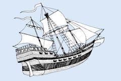Havsskeppet Caravel tre master med seglar stock illustrationer