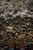 Havsskum på kusten av kiselstenar Ben i gymnastikskor står på stranden framme av havet Royaltyfria Foton