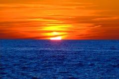 havssolnedgång Fotografering för Bildbyråer