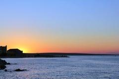 Havssolnedgång på Razanac Kroatien Fotografering för Bildbyråer