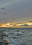 havssolnedgångvinter Royaltyfri Foto