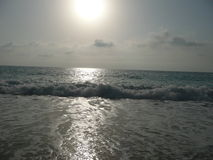 havssolnedgångwhite Royaltyfria Bilder