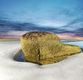 Havsstenen, vaggar på den baltiska stranden som omges av is. Arkivfoto