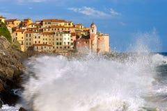 Havsstorm i Tellaro - Liguria Italien Arkivbild
