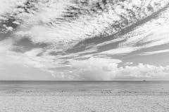 Havsstrand med vit sand och blått vatten i miami, USA Seascape på molnig himmel Sommarsemester på tropisk semesterort fotografering för bildbyråer