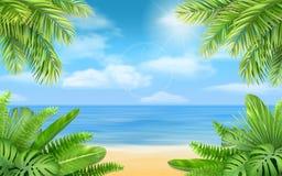 Havsstrand och tropiska buskar Royaltyfri Foto
