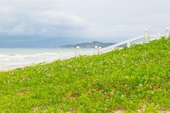 Havsstrandlandskap med det vita staketet för härlig promenad arkivfoton