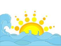 havssun vektor illustrationer