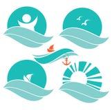 Havssymboler vektor illustrationer