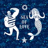 Havstecknad filmillustration med sjömannen och sjöjungfrun stock illustrationer