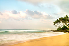 Havstrand på morgonen Royaltyfria Foton