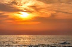 Havstrandsolnedgång Fotografering för Bildbyråer