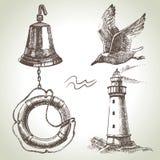 Havsuppsättning av nautiska designbeståndsdelar Royaltyfri Fotografi
