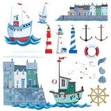 Havsuppsättning med den plana symboler och vektorillustrationen Pir med huset stock illustrationer