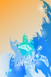 Havsvågmodell av den stiliserade sköldpaddan överst Royaltyfria Foton
