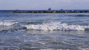 Havsvågor och skepp på horisonten stock video