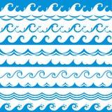 Havsvågram Sömlöst havstormtidvatten vinkar vektorn för gränser för krabba för floden för blått vatten för färgstänk beståndsdela stock illustrationer