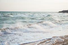 Havsvågskum på sandstranden Arkivbilder