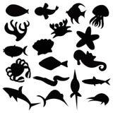 Havsvarelser stock illustrationer