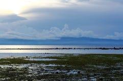 Havsvatten går tillbaka i eftermiddagen Royaltyfria Foton