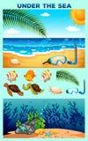 Havtema med stranden och undervattens- Royaltyfria Bilder