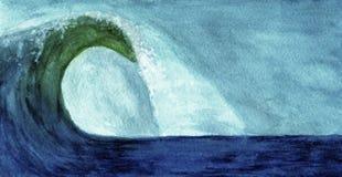 Havvåg i vattenfärg Fotografering för Bildbyråer