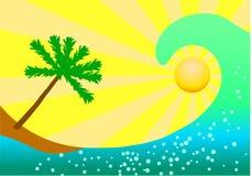Havvåg och palmträd på gul bakgrund Fotografering för Bildbyråer
