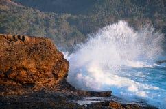 Havvåg som bryter mot den steniga kustlinjen med den forested backen i avståndet längs den Kalifornien kusten arkivfoto