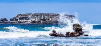 Havvågor kraschar mot vaggar uttern vaggar Oregon arkivbilder