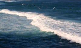 Havvågor som bryter på bränningstranden arkivbild