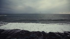 Havvågor som kraschar på Rocky Shore arkivfilmer