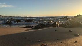 Havvågor som krossar på stranden lager videofilmer