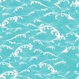 Havvågor, mönstrar den sömlösa dragen asiatisk stil för bakgrund handen Arkivbilder