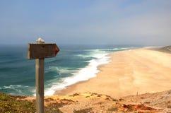 Havwaves och tömmer stranden Royaltyfria Foton