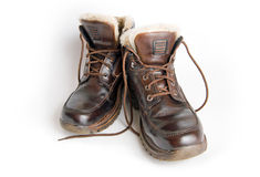 Havy boots. Brown winter boots with fur Stock Image