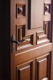 Havy and solid door. Door Left Open at Entrance to Home Foyer. Door wide open Royalty Free Stock Images