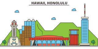 Hawaï, Honolulu Horizon de ville illustration libre de droits