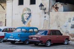 HAWAŃSKI, KUBA, FEB - 20, 2016: Che Guevara portret budynek port w Hawańskim Vieja, Kuba fotografia royalty free
