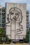 HAWAŃSKI, KUBA, FEB - 21, 2016: Portret Che Guevara na minister spraw wewnętrznych na Placu De Los angeles Revolucion obrazy stock