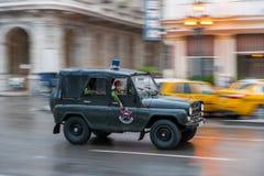 HAWAŃSKI, KUBA, PAŹDZIERNIK - 21, 2017: Starego stylu Retro samochód w Hawańskim, Kuba Pojazd wojskowy Czarny koloru UAZ samochód Zdjęcia Royalty Free