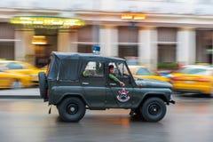 HAWAŃSKI, KUBA, PAŹDZIERNIK - 21, 2017: Starego stylu Retro samochód w Hawańskim, Kuba Pojazd wojskowy Czarny koloru UAZ samochód Obraz Stock