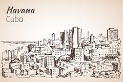 Hawański nakreślenie Kuba ilustracja wektor