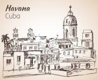 Hawański pejzażu miejskiego nakreślenie Kuba ilustracja wektor