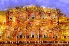 绘画Hawa玛哈尔-风宫殿在斋浦尔,拉贾斯坦,印度 库存照片