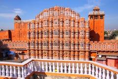 Hawa玛哈尔-风的宫殿在斋浦尔,拉贾斯坦,印度 图库摄影