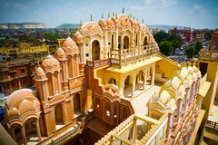 Hawa Mahal court facade top. Hawa Mahal palace (Palace of the Winds), view from the top of the facade, Jaipur, Rajasthan, India Royalty Free Stock Photography