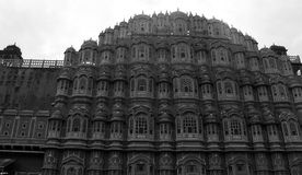Hawa Mahal Jaipur. Black and White image of Hawa Mahal, an heritage site in Jaipur, India stock photography