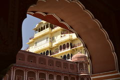 Hawa Mahal, Jaipur Indie, Inside. The palace of Jaipur, erected in 1799 on the initiative of the Sawai Pratapa Singh maharaja, is a perfect example of Rajputs Stock Image